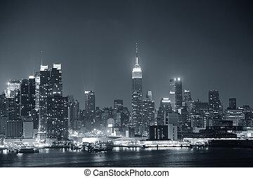 マンハッタン, 黒, 都市, ヨーク, 新しい, 白