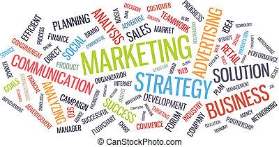 マーケティング, 単語, ビジネス, 雲, 作戦