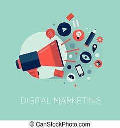 マーケティング, 概念, イラスト, デジタル