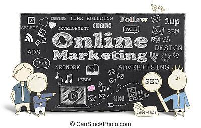 マーケティング, 男性, ビジネス, オンラインで