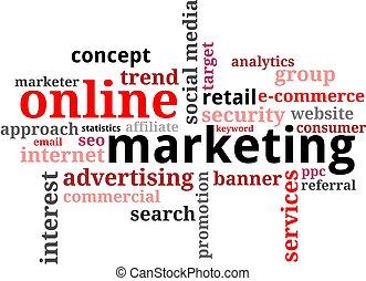 マーケティング, -, 雲, 単語, オンラインで