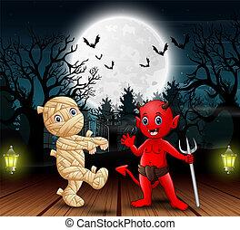 ミイラ, 悪魔, 屋外で, 赤, 夜