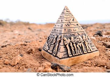 ミニチュア, モデル, ピラミッド, エジプト人