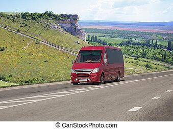 ミニバス, 山, 赤い道, 動く