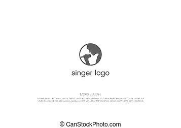 ミニマリスト, ベクトル, 星, 女, 歌手, ロゴ, 単純である, デザイン