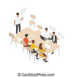 ミーティング, 話し, それぞれ, グループ, チーム, 労働者, ベクトル, 等大, コミュニケーション, オフィス, ビジネス, モデル, 人々, 議論, negotiation., 仕事, 形式的, テーブル, illustration., ∥あるいは∥, 他。, ひらめき