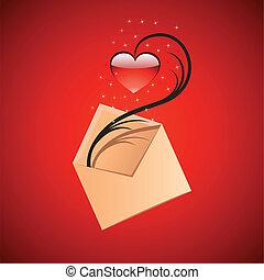 メッセージ, 概念, 愛, イラスト
