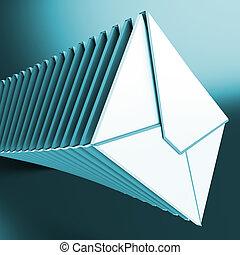 メッセージ, 積まれる, コンピュータ, inbox, 封筒, ショー