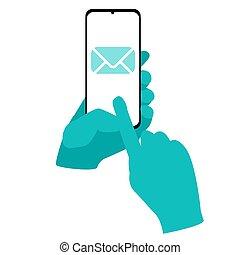 メッセージ, 電子メール, 手, 把握, 平ら, 医学, 隔離された, smartphone, envelope., ベクトル, 手袋, イラスト
