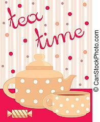 メニュー, card., サービス, お茶