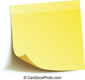 メモ, スティック, 黄色