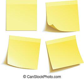 メモ, 白, 隔離された, 黄色, スティック