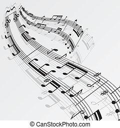 メモ, 音楽, 背景, 波