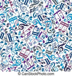 メモ, pattern., ミュージカル, カラフルである, seamless