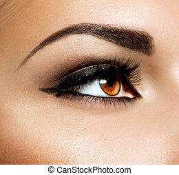 メーキャップ, makeup., 目, ブラウン, 目