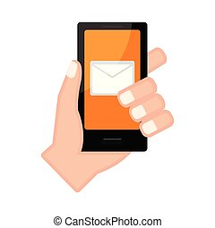 メール, app, smartphone, 手を持つ