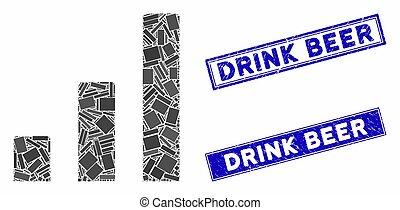 モザイク, 切手, 長方形, チャート, シール, 飲みなさい, ビール, バー, 苦脳