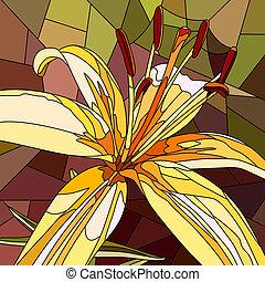 モザイク, lily., 花, 黄色