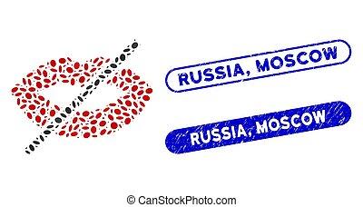 モスクワ, 接吻, コラージュ, いいえ, 点, ロシア, シール, 苦脳