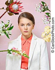 モデル, スタジオ, 女の子, 肖像画, 若い