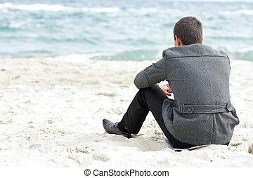 モデル, 単独で, ビジネスマン, 楽しむ, 浜, 光景