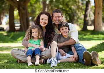 モデル, 家族, 庭, 幸せ