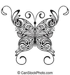 モノクローム, ベクトル, 蝶, 入れ墨