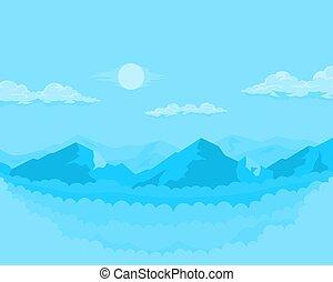 モノクローム, 風景, 山