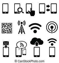 モビール, wifi, セット, アイコン