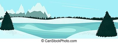 モミの木, 湖, 風景, 冬