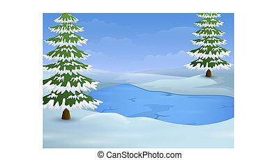 モミ, 冬, 凍結する 湖, 木, 風景