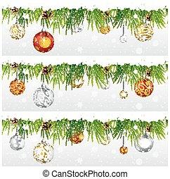 モミ, 花輪, 隔離された, 装飾, 白い クリスマス