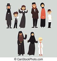 ユダヤ人, 別, 家族, 正統, 衣服, 人々, muslim, 伝統的である, 宗教, ベクトル, イラスト