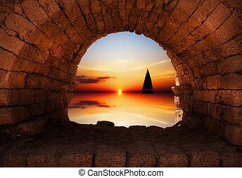 ヨット, 日没, 航海, に対して
