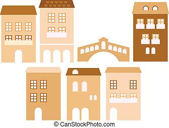 ヨーロッパ, ベージュ, 古い, (, 隔離された, 家, 町, ), 白