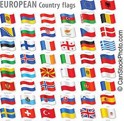 ヨーロッパ, 国民, ベクトル, セット, 旗
