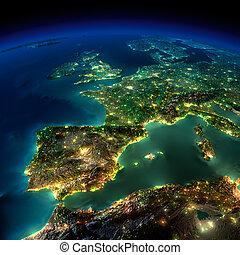 ヨーロッパ, 小片, ポルトガル, -, フランス, 夜, スペイン, earth.