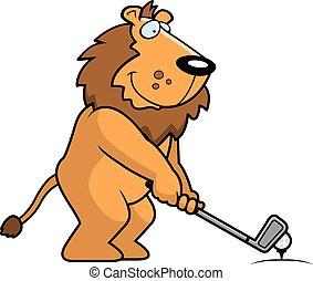 ライオン, 漫画, ゴルフをすること