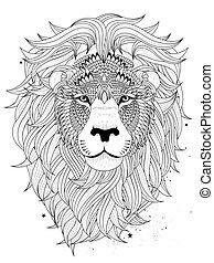 ライオン, 着色, 頭, ページ