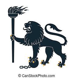 ライオン, heraldic, トーチ
