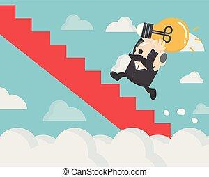 ライト, の上, clouds., によって, 保有物, ビジネスマン, 電球, 階段, 赤