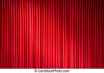 ライト, ステージ, 赤い点, カーテン