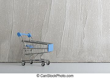 ライト, スペース, ワゴン, 小さい, コピー, cart., 買い物, バックグラウンド。, カート
