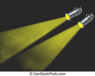 ライト, スポット, 2, 黄色