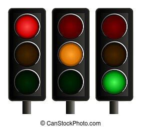 ライト, セット, 交通, 3