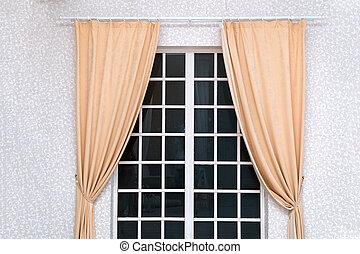 ライト, ドア, 上に, 部屋, curtainsin