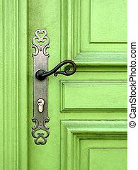 ライト, ドア, 緑