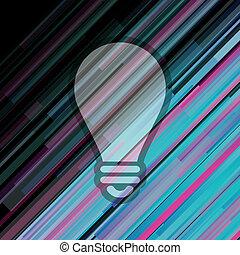 ライト, ベクトル, 創造的, 電球, アイコン