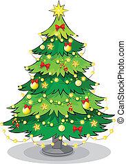 ライト, 木, 緑, 光っていること, クリスマス
