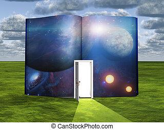 ライト, 現場, フィクション, 戸口, 本, 科学, 開いた
